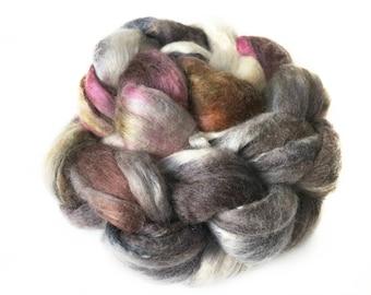 Superfine Merino Wool And Mulberry Silk 50/50 Blend Brick Form Destash Hand Dyed Spinning Felting Fiber 51 gm 1,8 oz