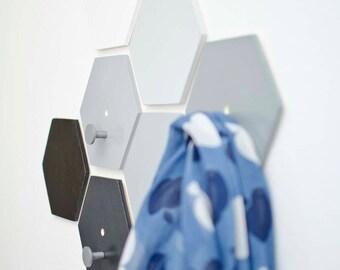Hexagon wall hooks set with metal pegs - Wall fixed Coat Hook - Gray ombre Entryway coat hooks - Modern wall hook bathroom - Ready to ship