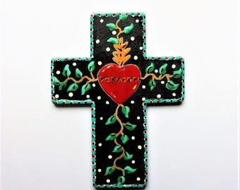 CROSS Crosses  gift red heart cross hand painted religious art gift wall decor gift Christian art gift hearts cross