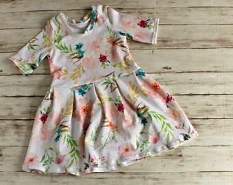 Watercolor Floral Dress, Flower Girl Dress, Girls Summer Dress, Toddler Dress, Flower Girl Dress, Peplum Top, Girl Spring Dress, Baby Dress