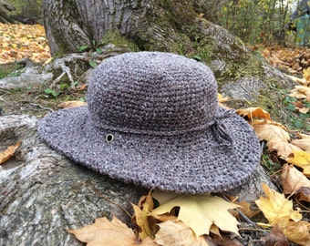 Winter Hat | Wide Brim Hat | Grey Tweed felt Hat | Womens Hat | Boho brim hat | Fall and Winter Hats for Women |Gift for her | Black Friday