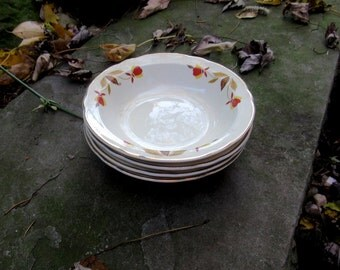 hall jewel tea autumn leaf fruit dishes, side dishes, 4 for 24.00