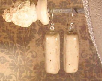 Memorial Cabochon Earrings - Custom Keepsake Stoneware Pottery Pet Cremains Cabochons with Sterling Silver Findings - Bar