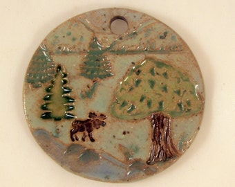 Large Glazed Pottery Pet Cremains Motif Pendant or Ornament - Custom Memorial Pet Cremation Keepsake -  I SPY a MOOSE