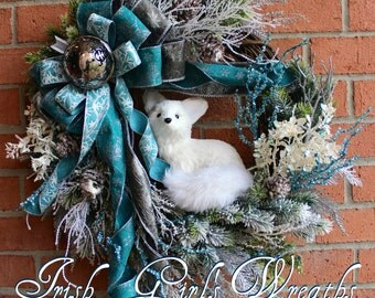 Teal and Silver Winter Fox Wreath, Arctic Fox Christmas Wreath, Woodland Christmas, Rustic Christmas floral, Turquoise, READY TO SHIP