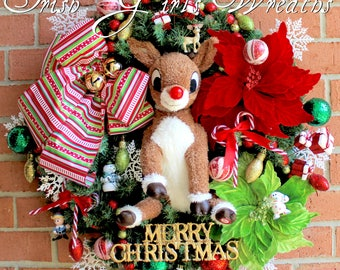 Rudolph Wreath, Musical Rudolph the Red-Nosed Reindeer Wreath, Christmas Wreath, Island of Misfit Toys