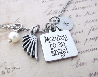 Mommy to an angel Angel Wing Charm Personalized Hand Stamped Initial Birthstone Memorial Stainless Steel Necklace