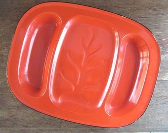 Large Orange Enamel Platter Vintage Holiday Platter Enamelware