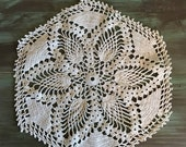 "Ecru Crocheted Doily / Vintage Cotton Doily 12"" Great for Vintage Decor"