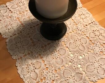 """Crocheted Runner / Vintage Cream Crocheted Table Runner 34"""" / Vintage Cotton Runner Crocheted"""