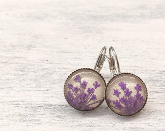 Purple earrings, original gift for girlfriend, natures jewelry, real flower earrings, violet purple, handmade earrings, pressed flower
