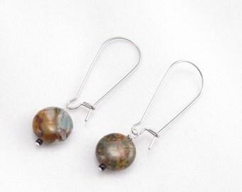 Earrings-Cherry Creek Jasper-silver plate long kidney style ear wires-variegated jasper-OOAK-Contemporary style-modern design-minimalist