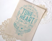 Come Thou Fount / Tune My Heart to Sing Thy Grace. Hymn Natural Cotton Flour Sack Tea Towel. Hymn Art. Hostess gift. Teacher gift
