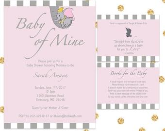 Dumbo Baby Shower Invite Bundle, Digital Invite, 5x7, Customizable