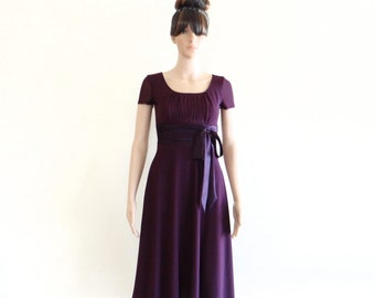 Purple Bridesmaid Dress. Cap Sleeves Dress. Knee Length Dress.
