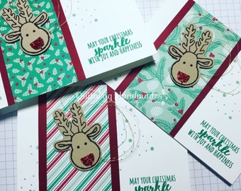 Stampin' Up! Christmas/Winter/Holiday Cards, Set of 3- Emerald Envy, Cherry Cobbler, Gold- Reindeer Cookie Cutter Christmas