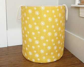 "Extra Large Hamper, Fabric Storage Laundry Basket, Yellow Dandelion Fabric Organizer, Toy or Nursery Basket, Storage Bin - 20"" Tall"