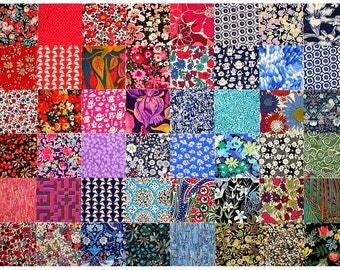 "Liberty Fabric 48 Mini 2.5"" Charm Pack Squares Bundle Patchwork Quilting dark deep bold colours Liberty of London Tana Lawn"