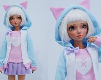 Slim MSD or SD BJD hoodie - Pink cat ears on blue and white hoodie jacket