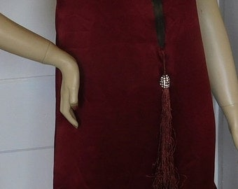 ON SALE Authenic 1920's Silk Flapper Dress with Braid Trim and Tassel