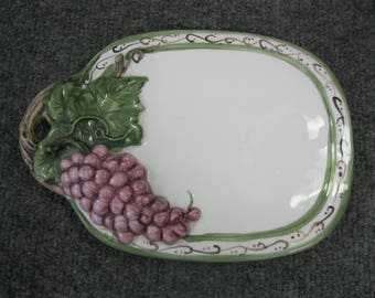 Handpainted Cheese Tray decorated with grape