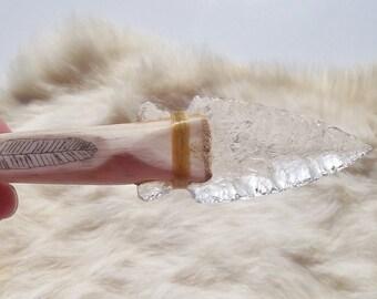 Leaded CRYSTAL ARROWHEAD Necklace Feather Design