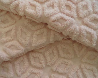 Pink Hofmann Snowflake Chenille Vintage Bedspread Fabric Piece...18 x 24""