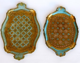Stunning pair of decorated golden Florentine vintage trays