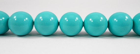 "Turquoise Glass Beads 14mm Round Beads, Turquoise Blue Beads, Chunky Beads, Large Beads, Opaque Glass Beads on a 7 1/2"" Strand with 14 Beads"