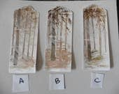 Bookmarks-The Forest ,Watercolor paintings, miniature paintings, sunrays, tree art, forest  bookmarks, paper crafts, Fine Art Paintings