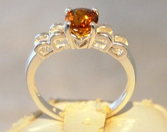 Orange Sapphire Ring 1.25 Carat, Oval Cut Sterling Silver Ring, Size 7