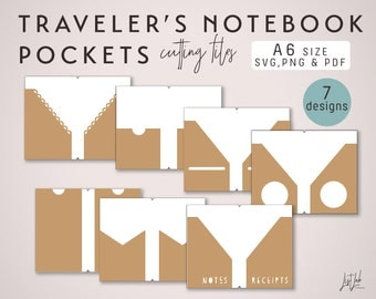 A6 Traveler's Notebook Pockets – Die Cutting Files (7 Designs) - SVG, PNG and PDF
