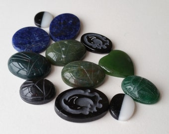 Assortment of genuine stone cabochons cabs