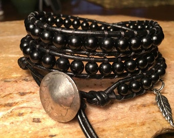 Onyx - Leather Wrap Beaded Bracelet, Boho Wrap, Bohemian, Mens or Womans