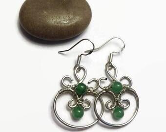 Wire Wrap Earrings/ Wire Earrings with Aventurine Beads/ Handmade Earrings/ Dangle Earrings/ Wire Earrings/ Wire Wrap Jewelry/Green Earrings