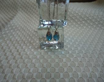 Briolette Cut London Blue Topaz Stringer Threader Earrings in Sterling Silver  # 1979