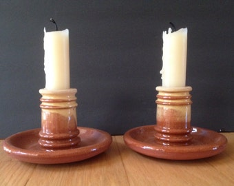 vintage terra cotta candle holders