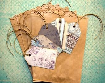 "Pouches / bags kraft cutout lace + 5 labels ""retro"" handmade"
