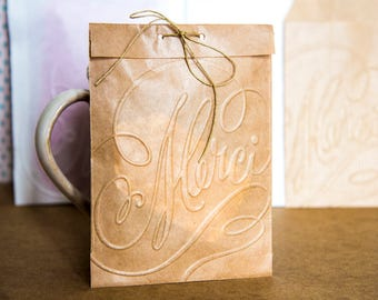"10  paper bags kraft brown, favor bags, wedding bags embossed ""Merci"" Thank you"