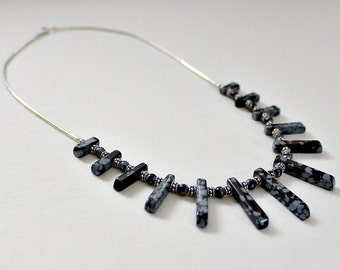 50th Birthday Gift,For Woman,For Her,Retirement Gift,Snowflake Obsidian,Necklace,Silver,60th Birthday Gift,For Mom,Unique,Black Necklace