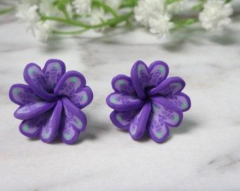 Purple Frangipani Flower Soft Ceramic Clay Stud Earrings 0213-2