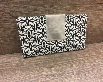 READY TO SHIP Black Damask Bi-fold Wallet Christmas Gifts for Her