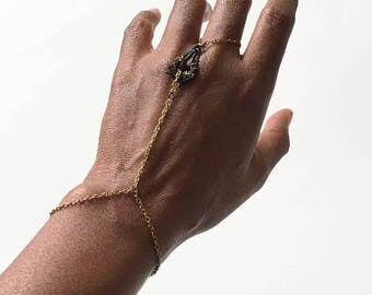 THE POET // Antique Brass and Lace Bracelet Ring Combination // Bohemian Jewelry // Accessories // Hand Jewelry