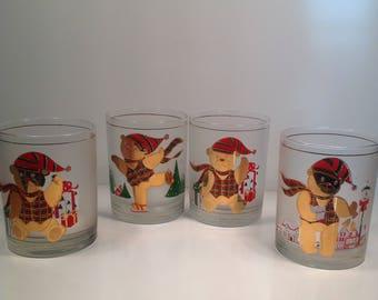 Vintage Culver Low Ball Christmas Bears Glasses Barware