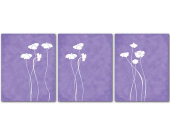 Flower Wall Decor - Modern Wall Art Trio - Bedroom Art - Nursery Art - Flower Silhouettes -Three prints - your choice of color or colors