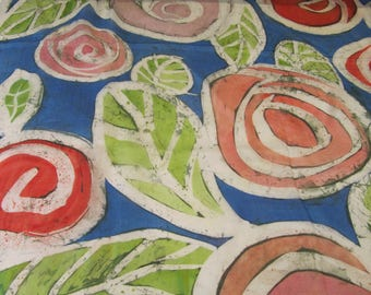 Hand-painted natural  silk sguare with stylized roses,blue,red, green, 90 x90 cm