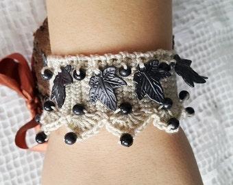 Bohemian Bracelet, Beaded Wrap Bracelet,Freeform Crochet Bracelet Cuff.  Bracelet with  beads, beach,boho, lolita,wristband,wriststrap