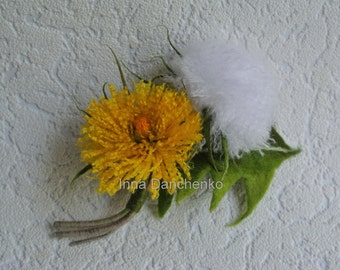 Dandelion felt brooch Dandelion yellow and white brooch