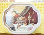 RESERVED For Tammy   Vintage Elite Serving, Tray, Made in Eangland, Fruit, Roses, Cottage Chic, Hollywood Regency, Barware