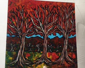 Red Tree Forest original painting